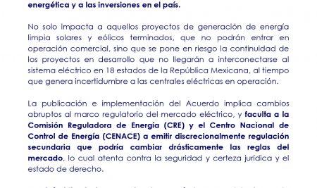 Pronunciamiento respecto del Acuerdo de la SENER en el DOF del 15 de mayo 2020